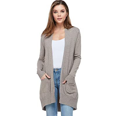 Alexander + David Women's Basic Open Front Long Sleeved Soft Knit Cardigan Sweater Lightweight with Pockets at Women's Clothing store