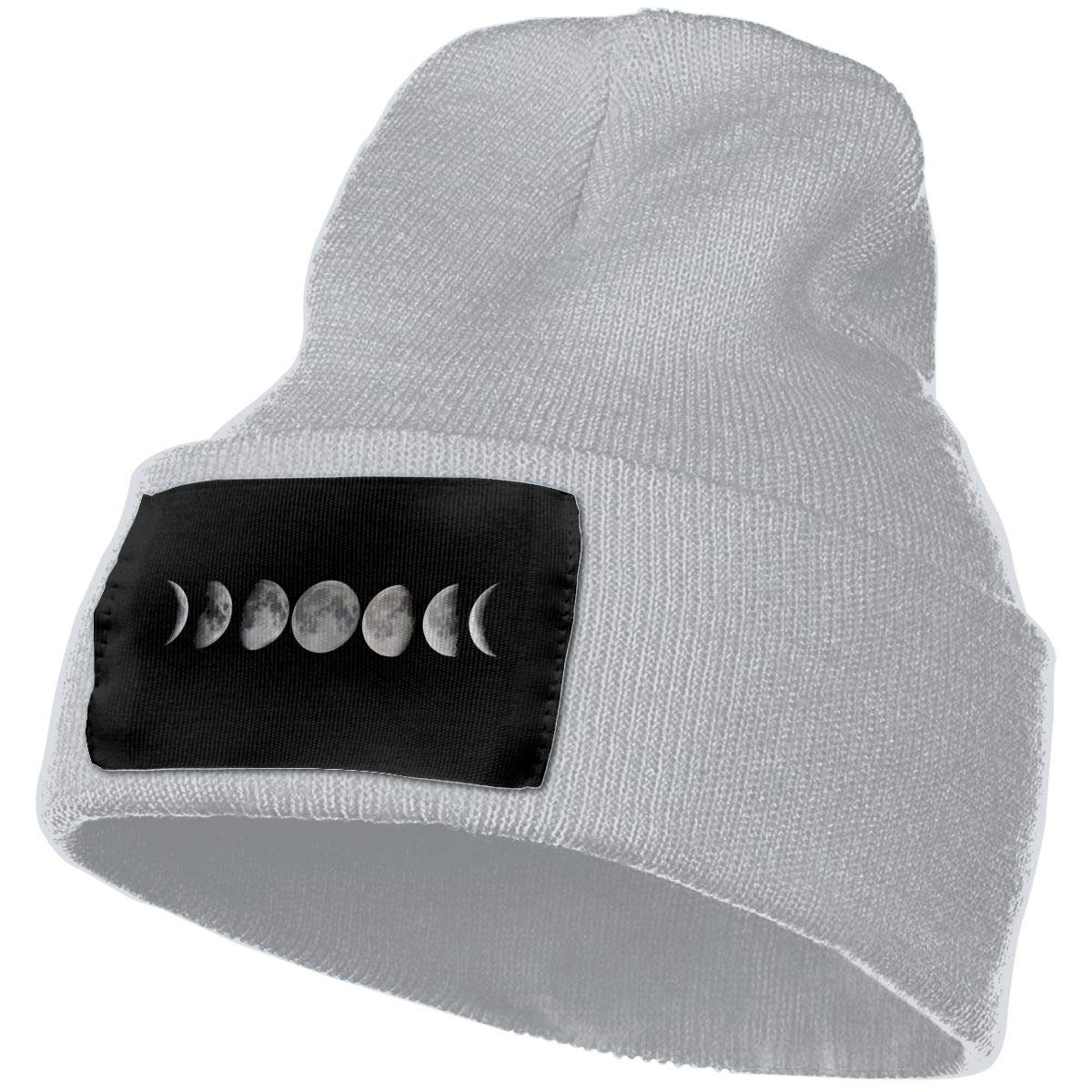 Phases of The Moon Unisex Knitted Hat Casual Knitting Beanies Caps Black