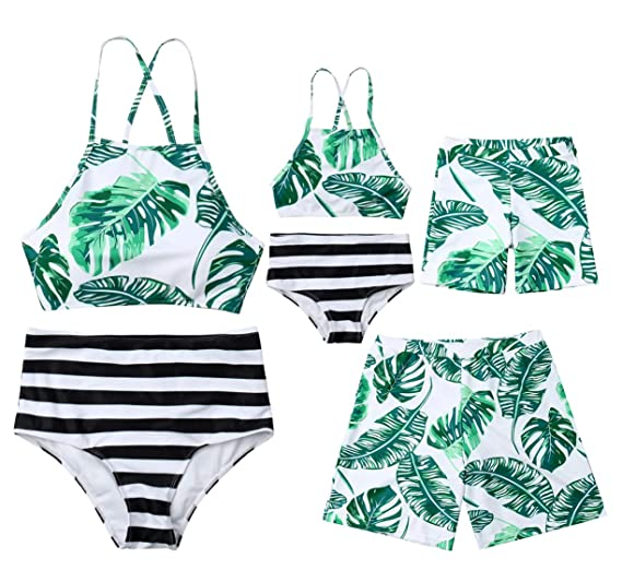 2f17ca4838 Amazon.com: Family Matching Leaf Print Swimsuit Parent-Child Striped Bathing  Suit 2 Pieces Bikini Sets 1 Piece Swim Shorts: Clothing