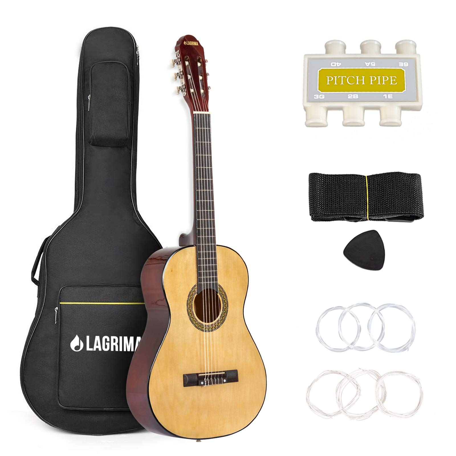 LAGRIMA 39'' Classical Guitar Beginners with Guitar Case, Strap, Tuner, Picks and Steel Strings (Natural) by mecor