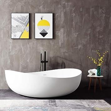 Freistehende Badewanne aus Mineralguss WAVE STONE weiß - 180 x 110 ...