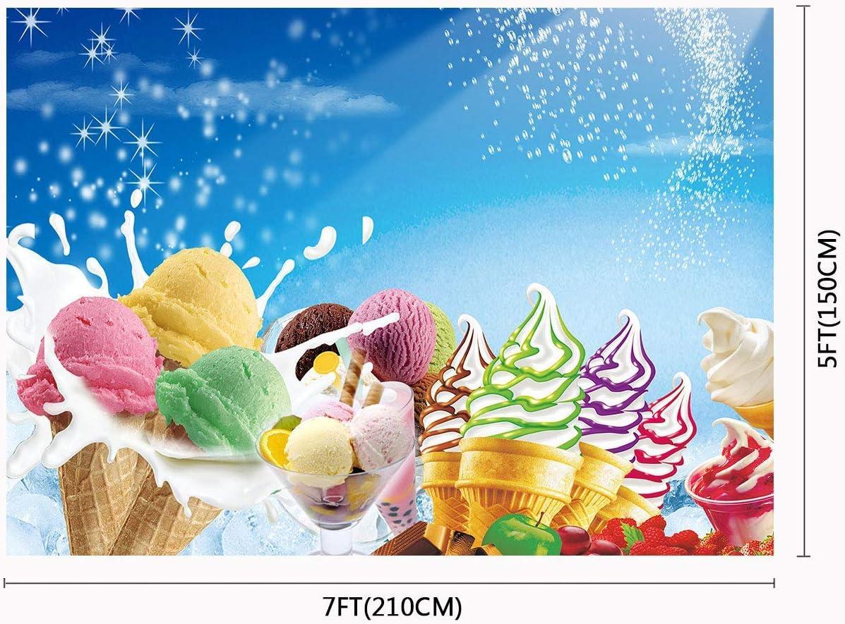 10x8ft Ice Cream Photography Backdrop Props Background Summer Photo Studio Banner LYFU278