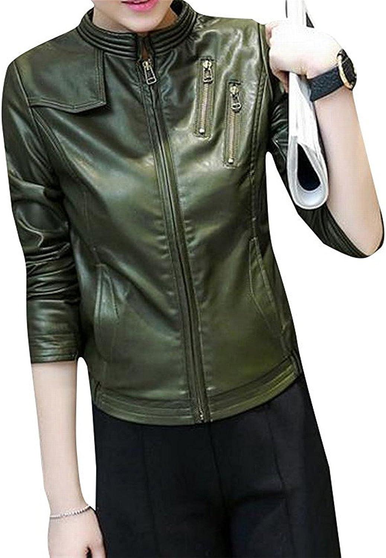 Robert Reyna Fashion Women Slim Short Pu Leather Jacket Jackets Coat