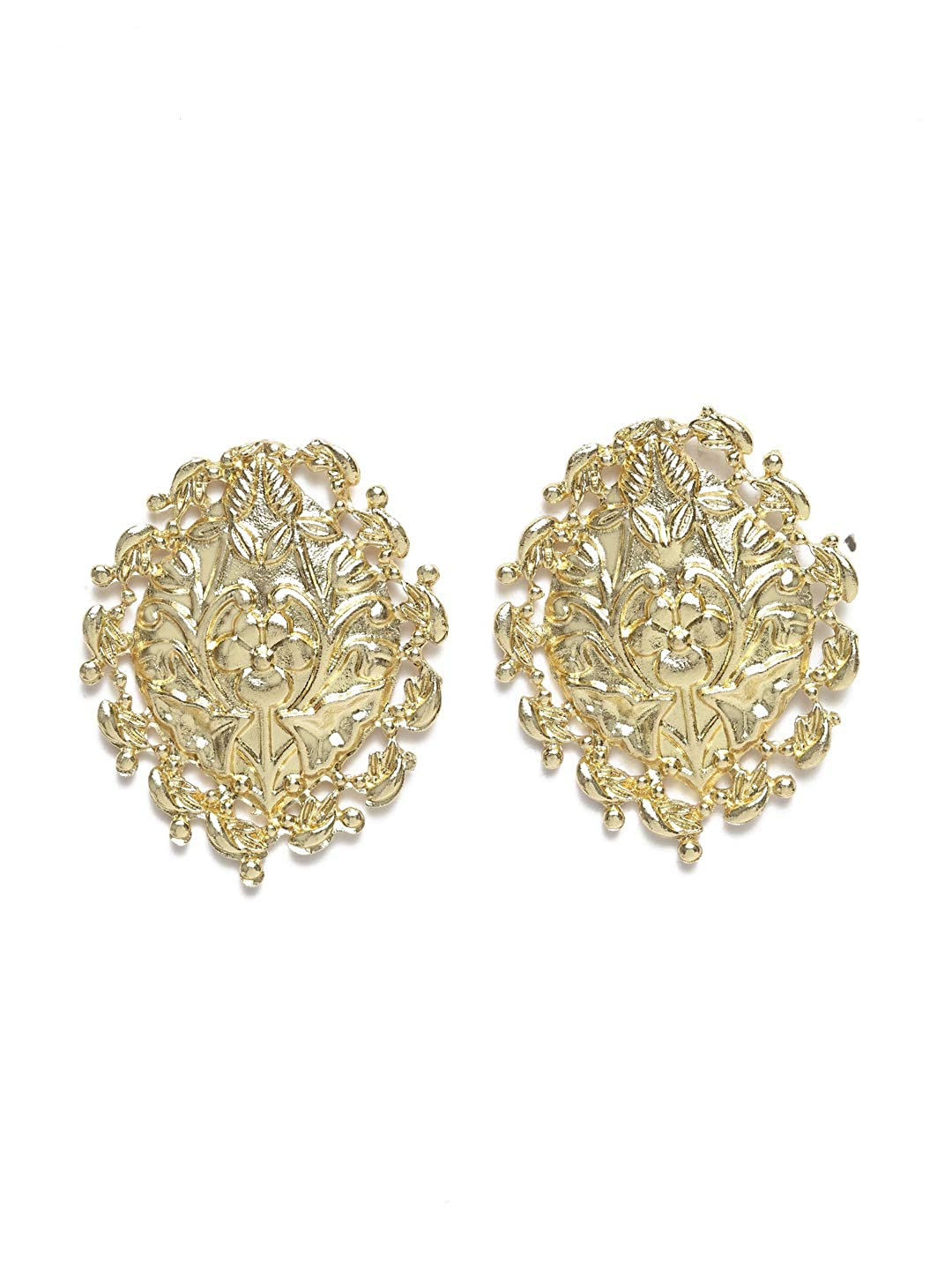 Diva Walk Gold-Plated Oval Studs-Onesize-Gold