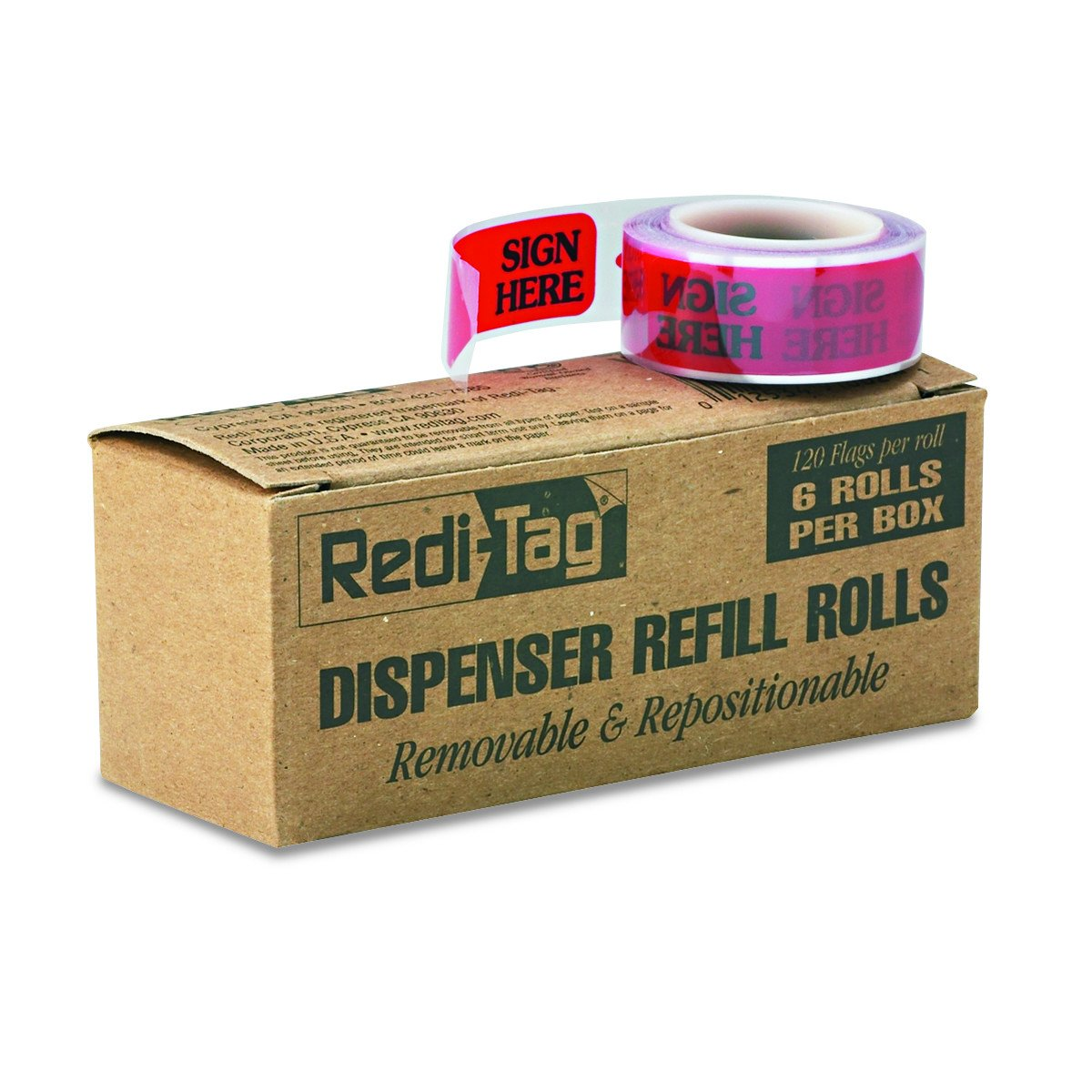 Redi-Tag Self-Stick''SIGN HERE'' Arrow Flags for Documents, Message Arrow Page Flag Refills, Red, 120 Flags per Roll (Box of 6 Rolls) (91002)