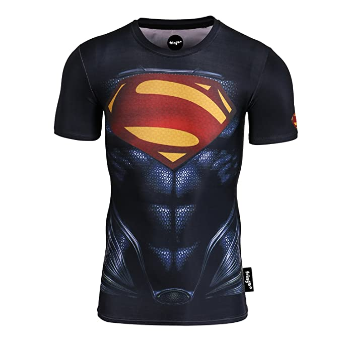 e490cc7d Fringoo Mens Compression Superhero T-Shirt Base Layer Gym Long Sleeve  Running Thermal Sweatshirt Workout Top Spider Superman Bat: Amazon.co.uk:  Clothing