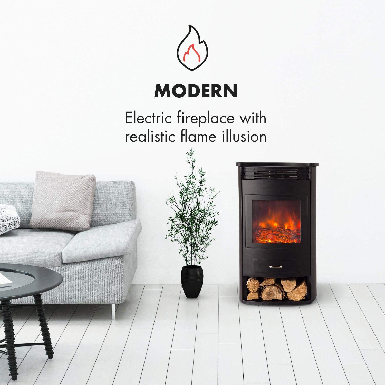 Klarstein Bormio Chimenea eléctrica con función calefactora • Chimenea electrónica • 950 o 1900 W • Termostato • Función calefactora Independiente • Efecto ...