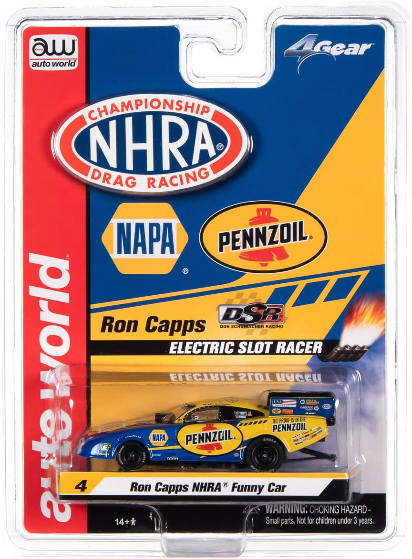 Auto World NHRA Funny Cars-4 Gear-Release 24-Ron Capps-Napa Auto Parts 2020 Dodge Funny Car Scale Slot Car