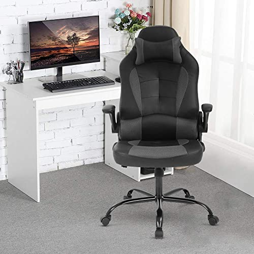 PC Gaming Chair Racing Style PU Leather Desk Chair w/Flip Up Armrest Lumbar Support Pillow