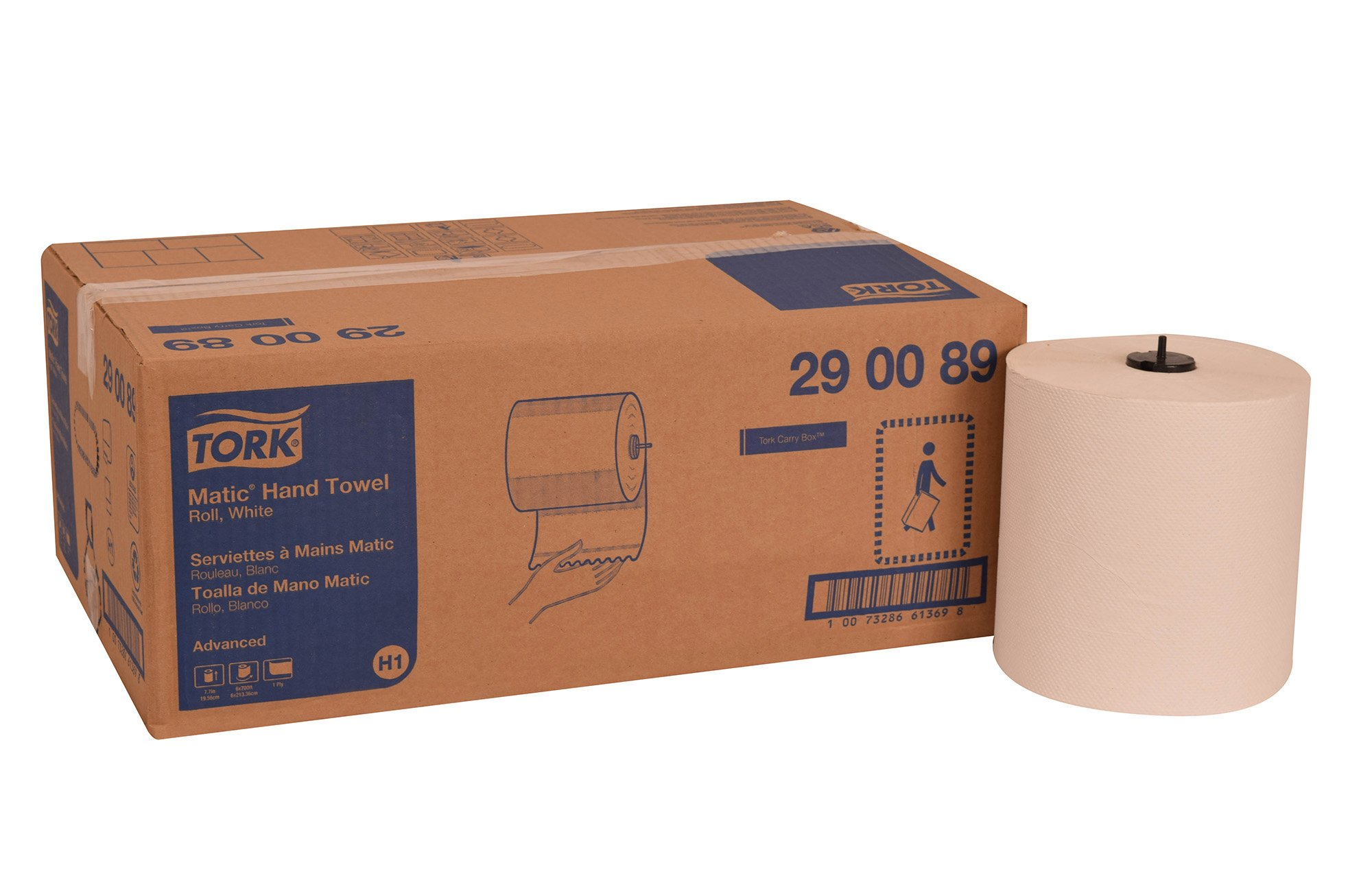 Tork 290089 Advanced Matic Paper Hand Towel Roll, 1-Ply, 7.7'' Width x 900' Length, White (Case of 6 Rolls, 700 Feet per Roll, 4,200 Feet)