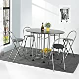 Folding Dining Set Drop Leaf Table and Chairs Butterfly ...