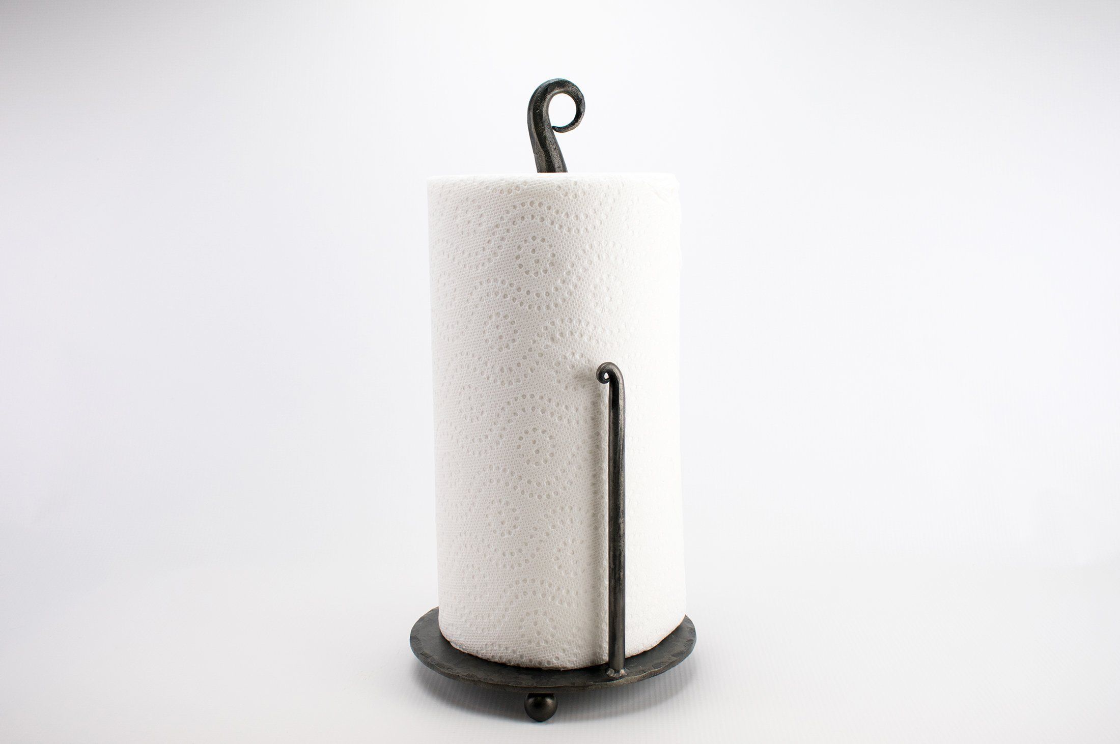 Hand Forged Iron Counter Top Paper Towel Holder - Multiple Finishes by Brown Dog Forge & Co.