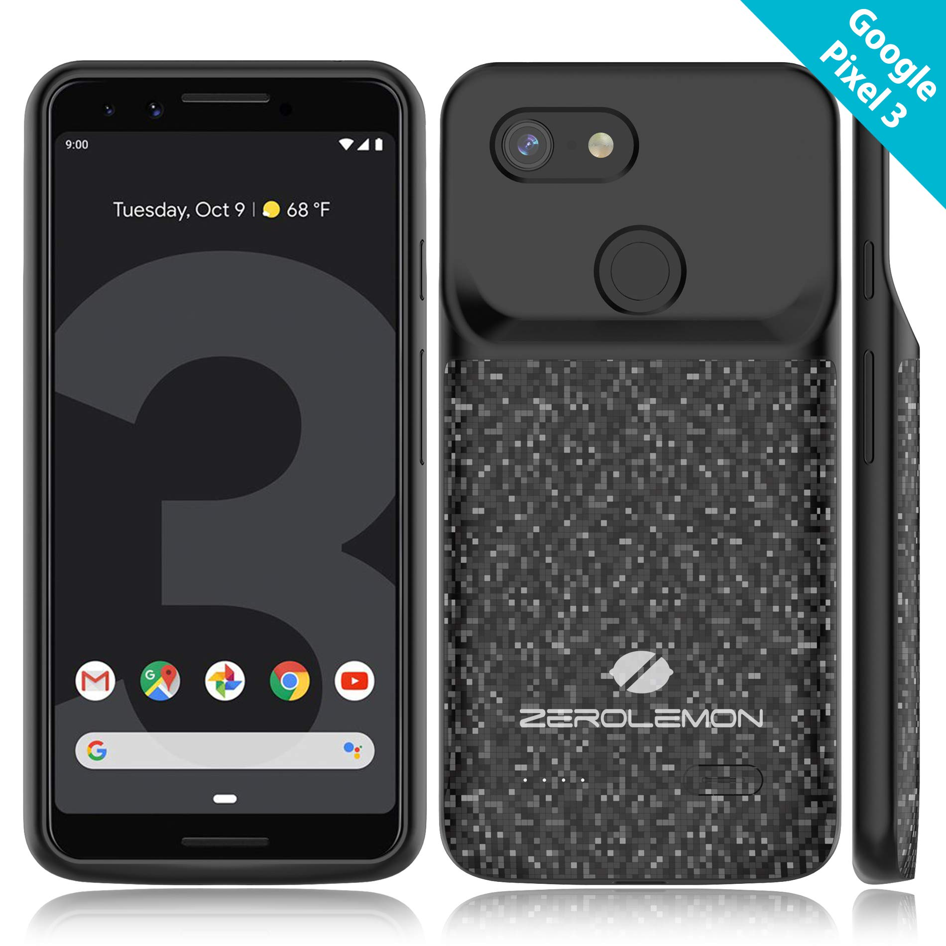 Google Pixel 3 Battery Charging Case, ZeroLemon Slim Power 4700mAh Extended Battery with Soft TPU Full Edge Protection Case for Google Pixel 3 - Black