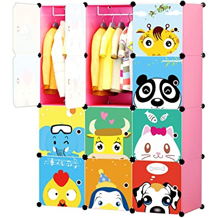265d581ff Amazon.com  KOUSI Portable Kids Wardrobe Closet Children Dresser ...