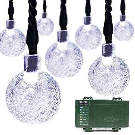 lalapao globe battery operated timer string lights 30led bubble crystal ball fairy christmas lighting decor for