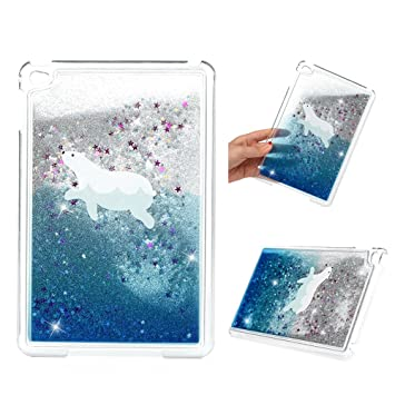 iPAD Mini 4 Case, iPAD Mini 4 Liquid Glitter Case Bling Shiny Sparkle Flowing Moving Love Hearts Cover Clear Ultral Slim Protective PC Bumper ...
