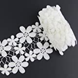 Yontree White Cotton Lace Trim Applique Sewing Craft 2 yards