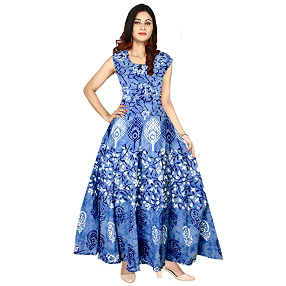 33f844305c jwf Khushi Print Women s Cotton Western Fit and Flare Dress Party Wear  A-Line Dress (Multicolour