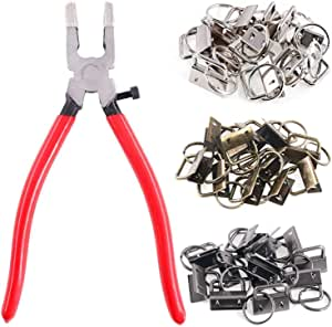 Iycorish 36 Sets 25mm 3 Colors Key Fob Hardware with 1Pcs Key Fob Pliers, Glass Running Pliers Tools with Jaws