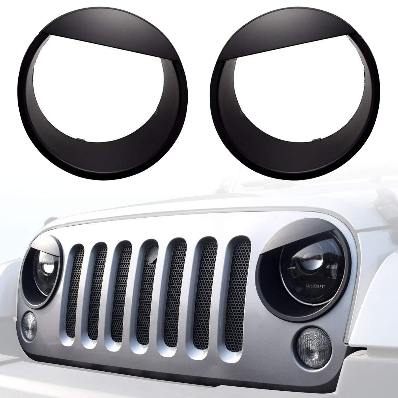 DIYTuning Angry Eyes Front Lights Trim Cover Headlight Bezels for Jeep Wrangler JK JKU Unlimited Rubicon Sahara Sport 2007-2017 DIYMaker