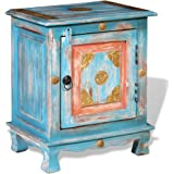 vidaXL Nightstand Bedside Table Side Cabinet Home Decor Solid Mango Wood Blue