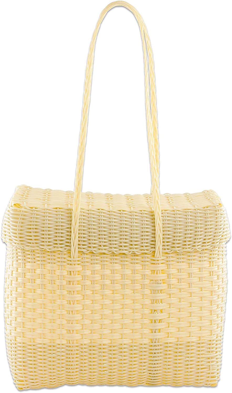 NOVICA Ivory Recycled Plastic Shoulder Bag, Cornsilk Picnic'