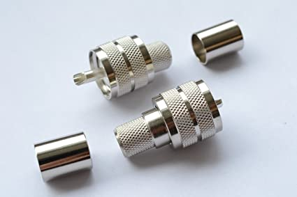 Pack of 5 UHF Male Silver Crimp PL259 Coax Connector RG8 RG214 RG213 9913 LMR400,