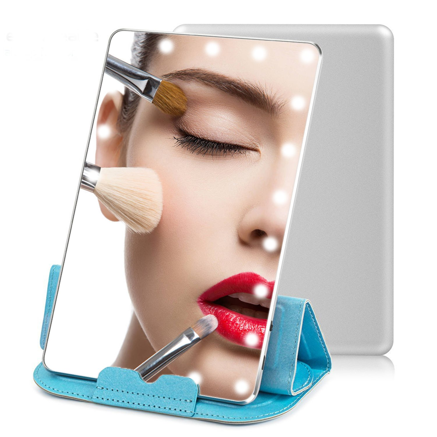 Lighted Makeup Mirror, 7.9'' Daylight LED Travel Vanity Mirror, Dimmable Natural LED Lights & Touch Screen ,Portable Cosmetic Mirror for Purse, Chargeable Travel Illuminated Compact Mirror with Stand
