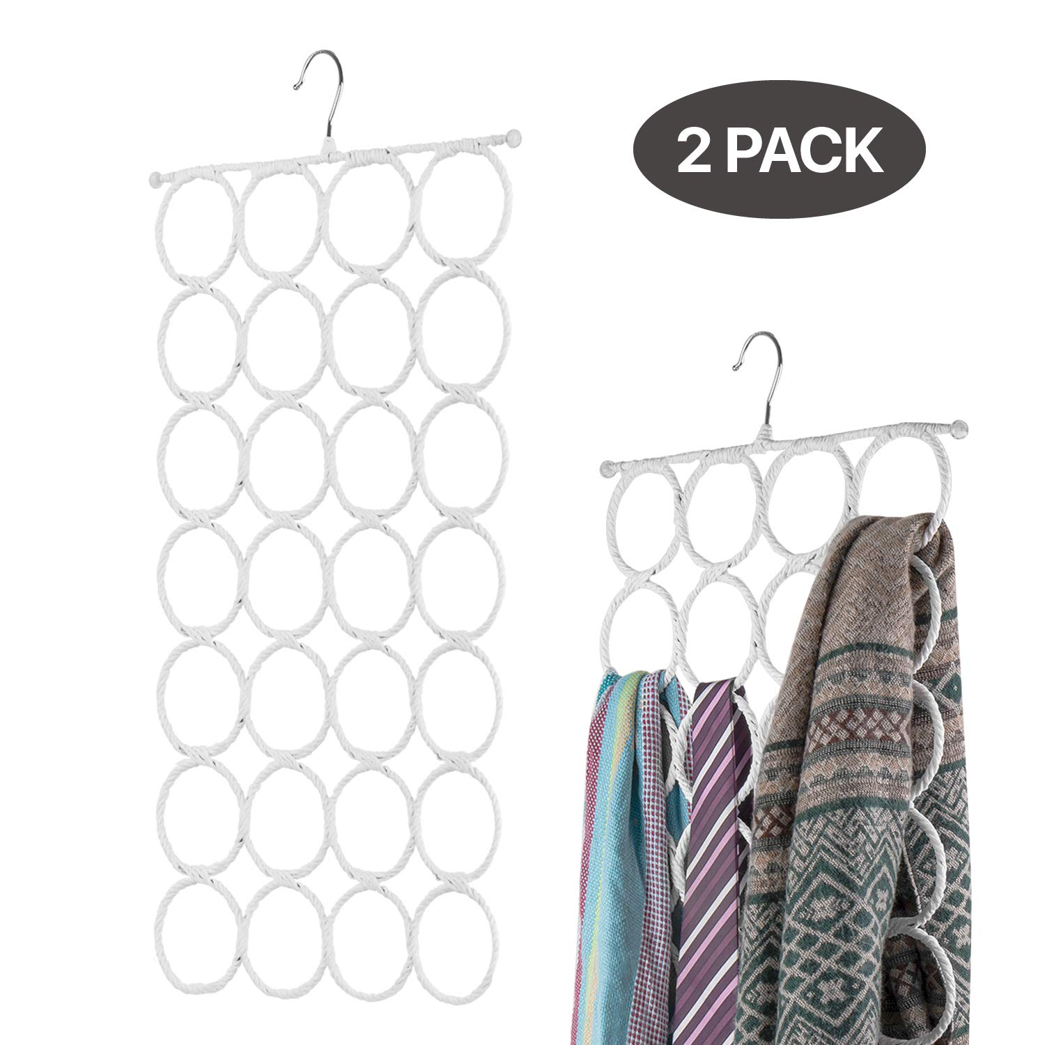 Flexzion Scarf Hanger Holder - 28 Count Circles/Ring Slots Multifunctional Hanging Rack, Home Organizer, for Socks Scarf Ties Belt Mufflers Shawl/Door Closet Organization (White, 2 Pack) by Flexzion