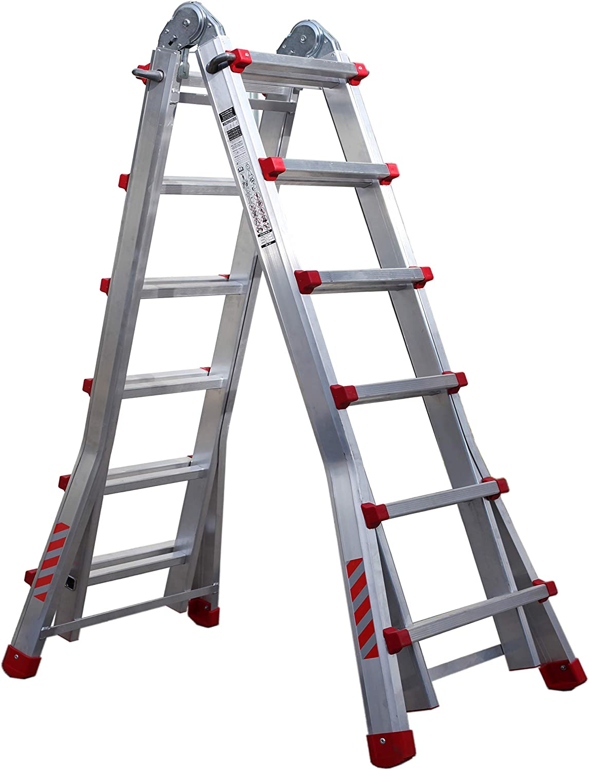Articulated Aluminum Telescopic Professional Folding Ladder 6+5 in 2 Stages. Up to 22 Steps