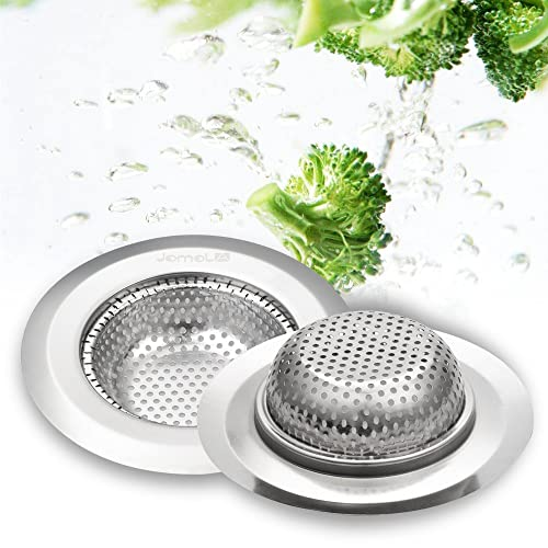 JOMOLA 2PCS Stainless Steel Sink Strainer For Garbage Disposal, Easy Handle Portable Kitchen Drain Strainer Basket - Suitable Size for your Kitchen Sink