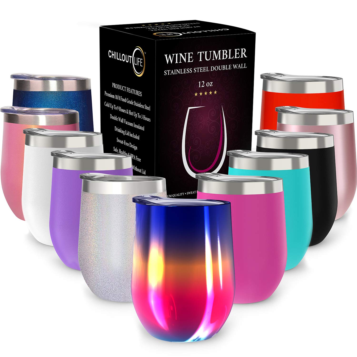 CHILLOUT LIFE 12 oz Stainless Steel Tumbler with Lid & Gift Box   Wine Tumbler Double Wall Vacuum Insulated Travel Tumbler Cup for Coffee, Wine, Cocktails, Ice Cream - Rainbow Wine Tumbler