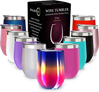 CHILLOUT LIFE 12 oz Stainless Steel Tumbler with Lid & Gift Box | Wine Tumbler Double Wall Vacuum Insulated Travel Tumbler Cup for Coffee, Wine, Cocktails, Ice Cream - Rainbow Wine Tumbler