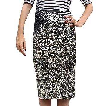 Bibao falda ajustada con lentejuelas de verano para mujer plateado ...