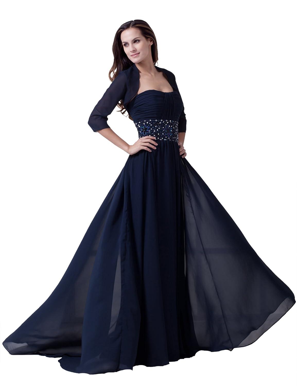 Dresstells Glamourös Damen Kleid Lang Chiffon Rückenfrei Abendkleid Ballkleider mit Schleppe