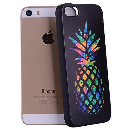 Yunbaozi Funda iPhone 5, iPhone 5S Case Embossing Case Carcasa Suave Impresión 3D Caucho TPU Flexible Cáscara Delgado Ligero Alivio Negro Carcasa ...
