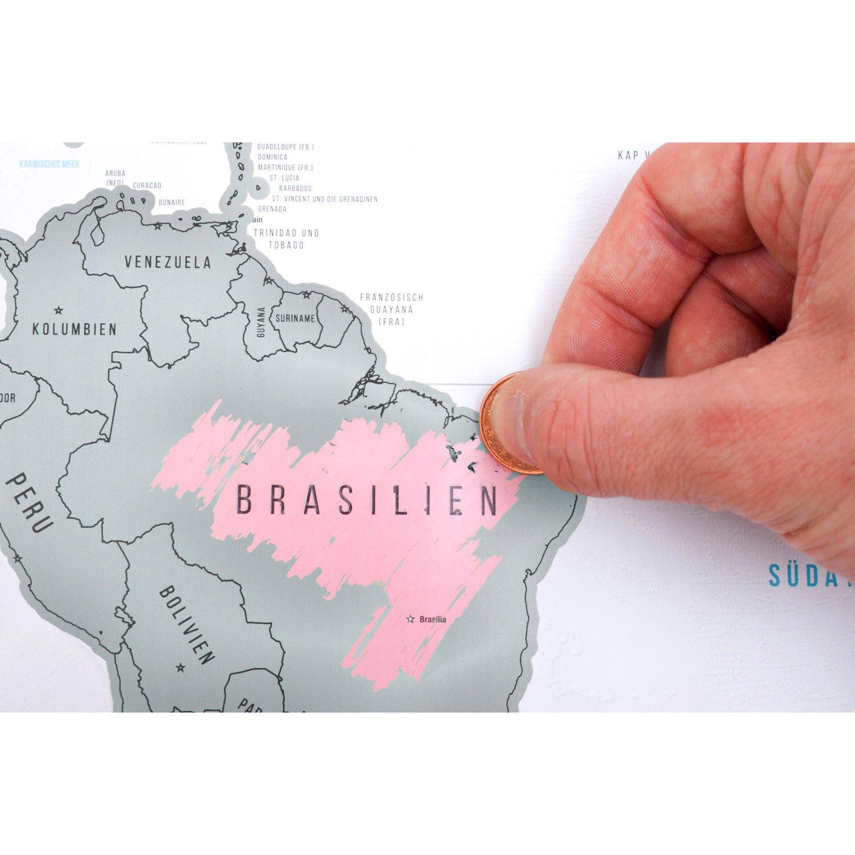 Rubbel Landkarte Deluxe Poster Weltkarte zum Rubbeln Scrape Off World Map XXL