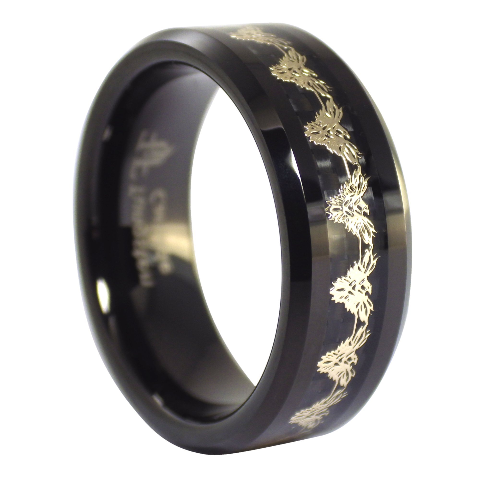 Fantasy Forge Jewelry Black Phoenix Gold Firebird Tungsten Ring 8mm Size 6.5 by Fantasy Forge Jewelry (Image #4)