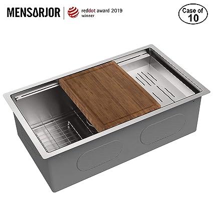 Amazon.com: MENSARJOR - Fregadero de acero inoxidable SUS304 ...