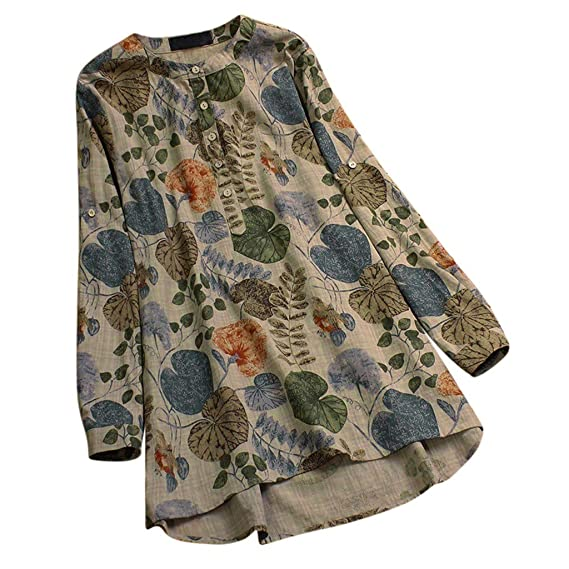 635eefa8ade Lazzboy Womens Tops Blouse 3 4 Long Sleeve Linen Ladies Floral Print Loose  Casual Pullover Shirt  Amazon.co.uk  Clothing