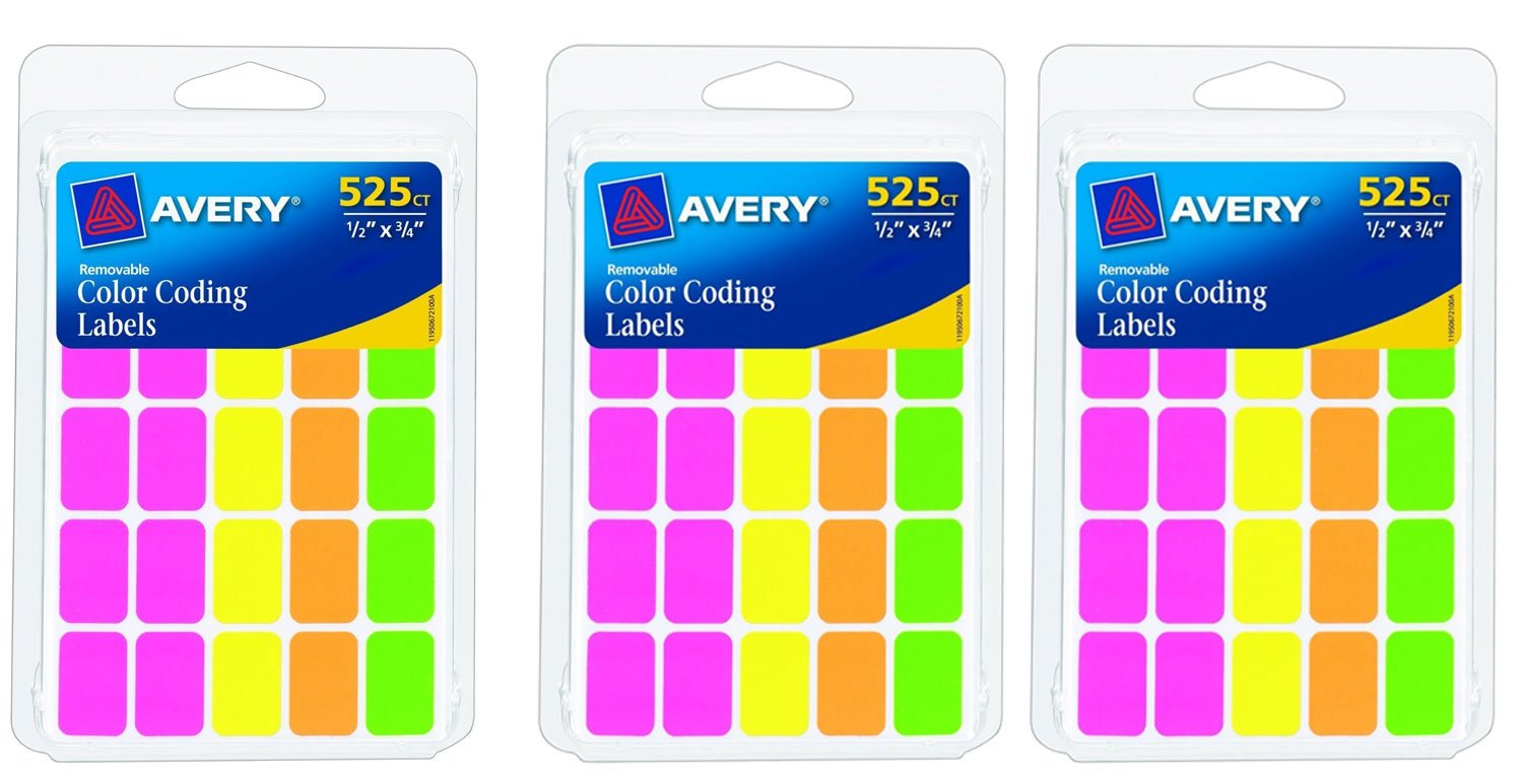 amazoncom avery removable color coding labels pack of 525 rectangular assorted colors 3 pack total 1575 labels office products - Avery Colored Labels