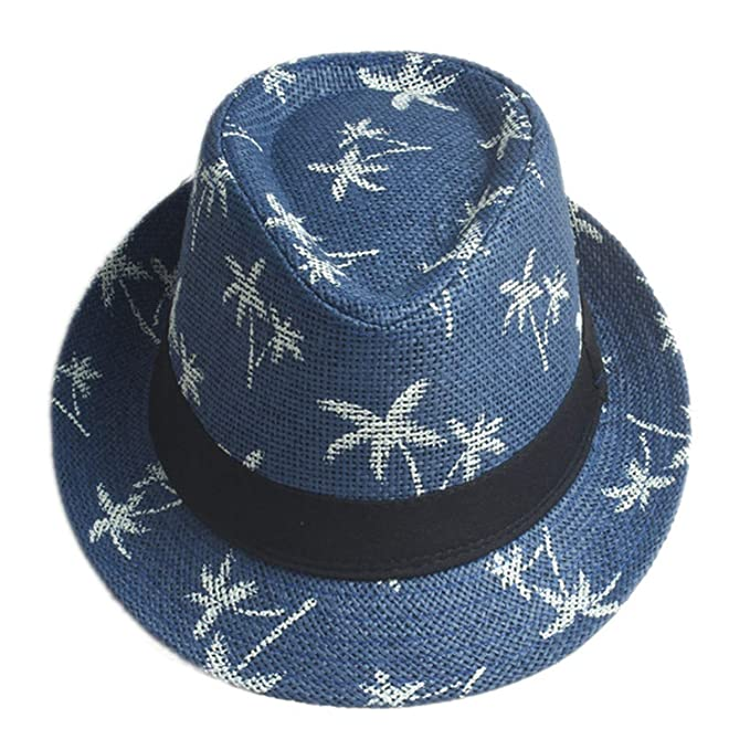 Men Women Straw Fedora hat Summer Panama Hat Elegant Gorras Hombre Gangster Sun Cap Hawaii Style, Blue at Amazon Womens Clothing store: