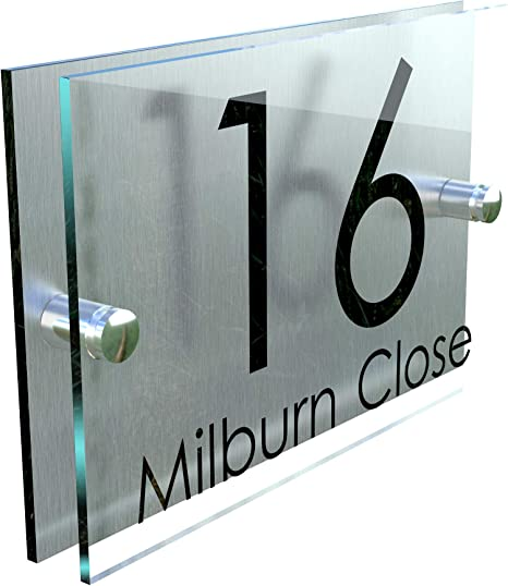 MODERN HOUSE SIGN PLAQUE DOOR NUMBER NAME GLASS ALUMINIUM EFFECT PERSONALISED