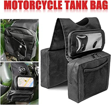 COCO Durable Universal Motorcycles Snowmobiles ATV Tank Top Saddle Bag Waterproof Phone Rack Bag Front Accessories Storage Pack Surrounded by 3 Large Zippered