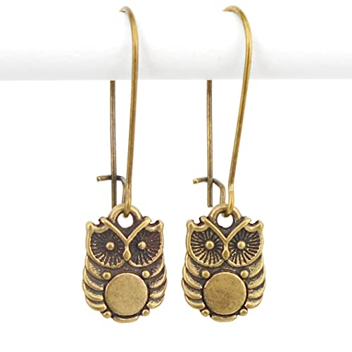 Owl Earrings in an Art Deco style in Antique Bronze, with Medium Length Drop earwires