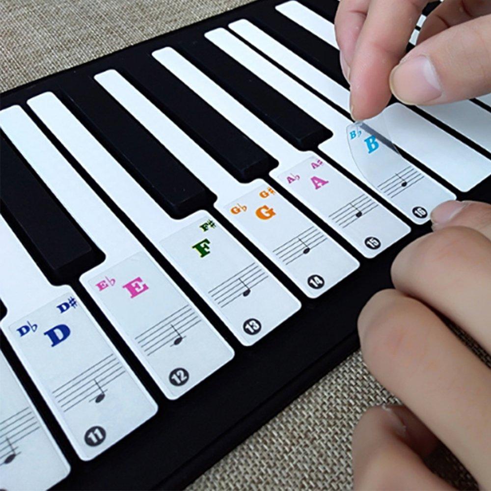 Pegatinas de notas musicales para piano y teclado para teclas blancas 49, 61, 76, 88 + eBook: Amazon.es: Instrumentos musicales