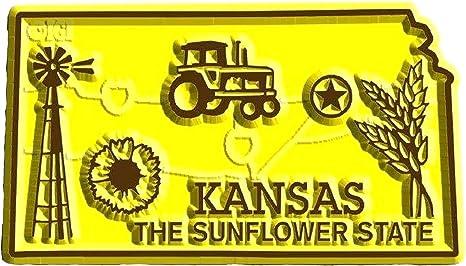 Vtg Kansas magnet travel souvenir fridge refrigerator kitchen decor Meadowlark