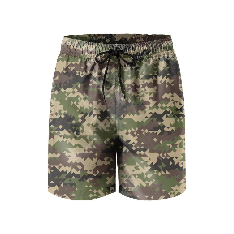 Feewearior Mens Beach Shorts Fashion Camouflage Swimming Trunks Drawstring Pants Extended