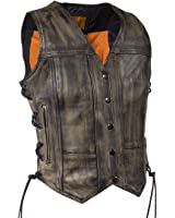 Womens Distressed Brown Naked Leather Motorcycle Vest With Gun Pockets