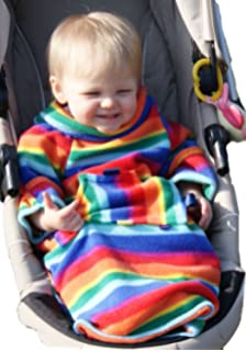 POP ON Baby Toddler Sleeved Blanket For Pushchairs Strollers Car Seats RAINBOW